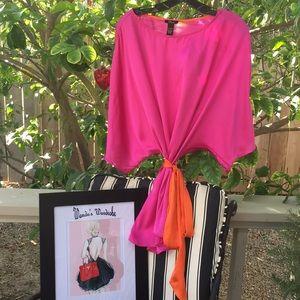 Hot Pink/Orange Polyester Top